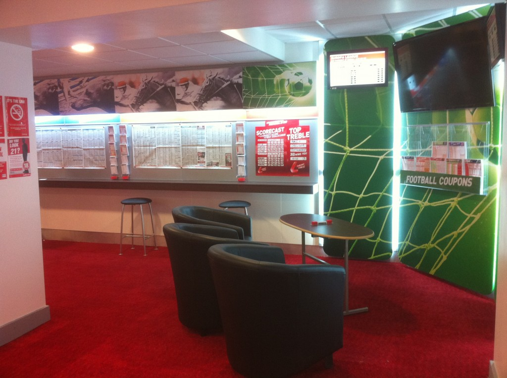 Seated Sports corner in Irish Ladbrokes betting shop, fitted by PP Construction