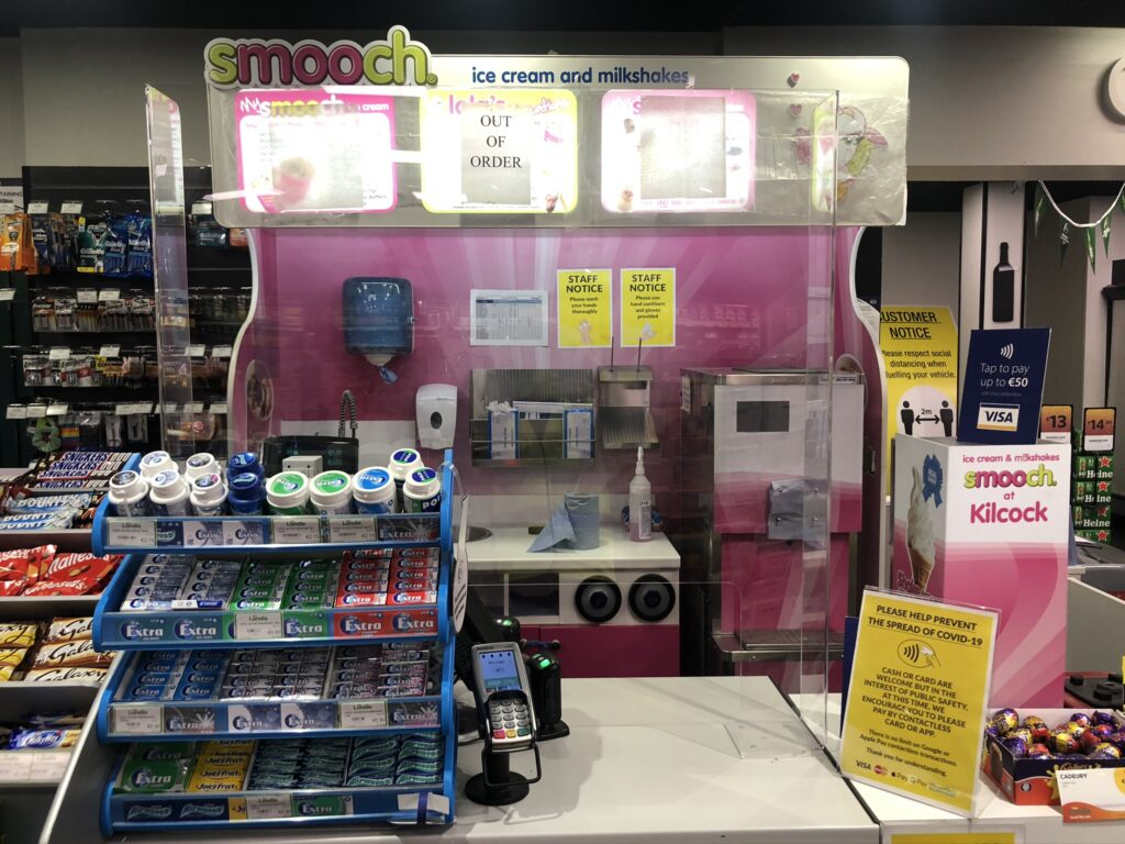 Image of Sneeze Guard installed in Smooch area in Retail store in Ireland