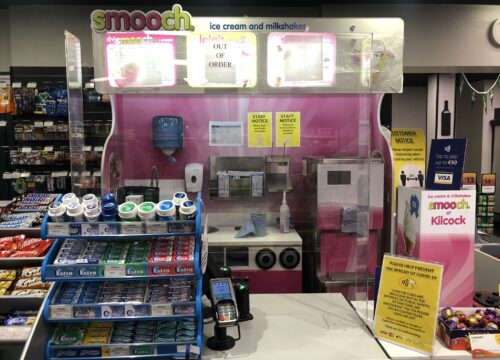 Image of Sneeze Guard installed in retail shop