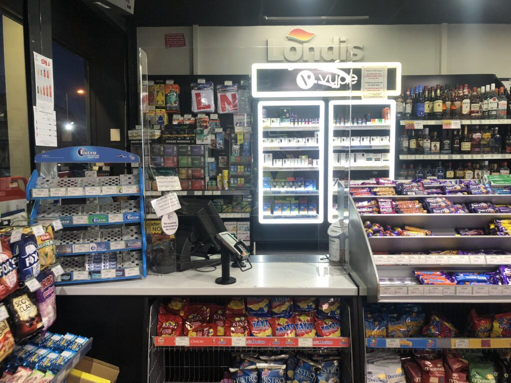 Image of Sneeze Guard installed in Retail store in Ireland