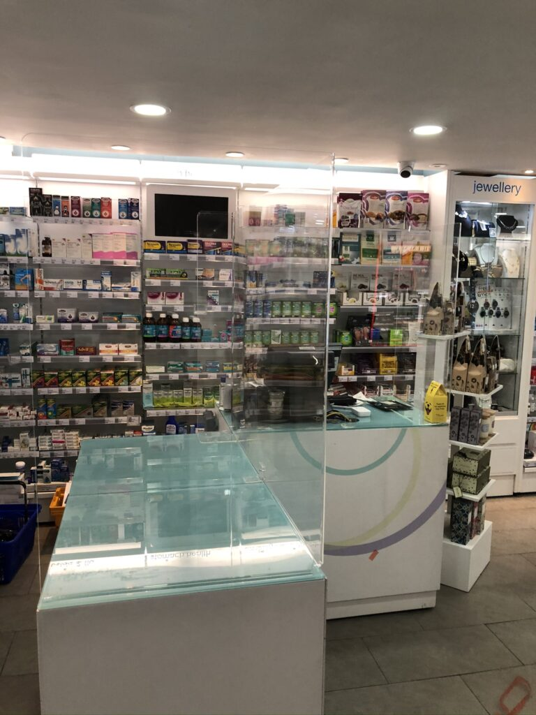 Image of Sneeze Guard installed in Pharmacy in Ireland