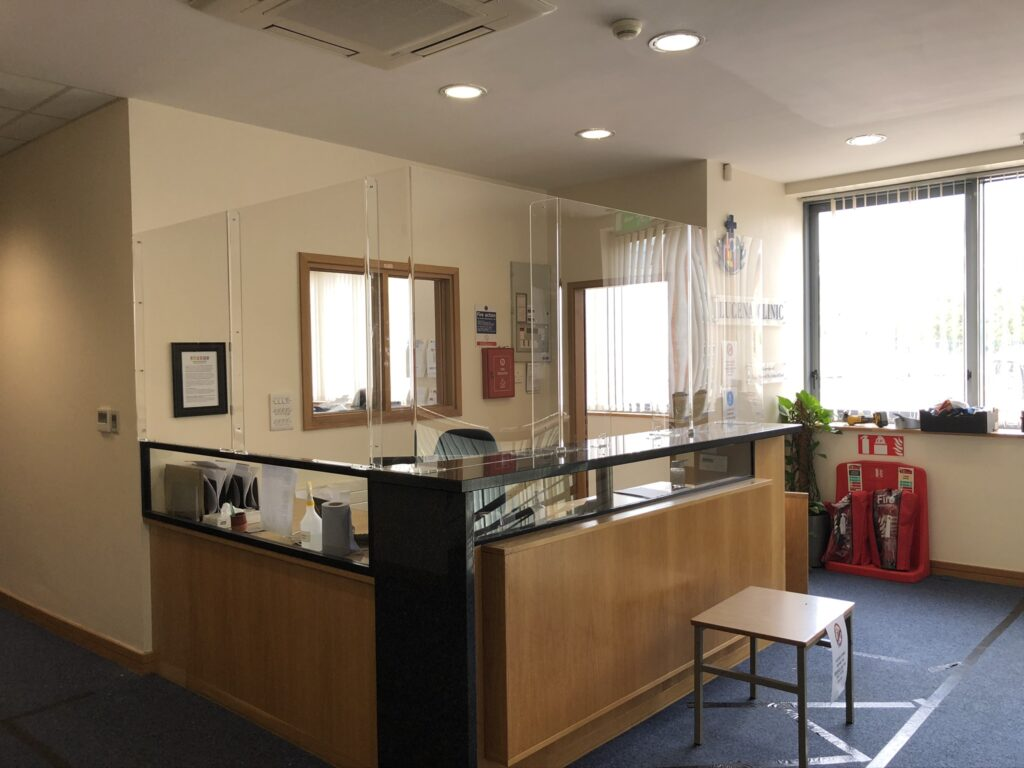 Image of Sneeze Guard installed in reception area in health facility in Ireland